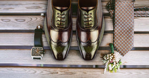 Mens formal, oxford, lace up shoes in dark brown and green color. Made by fircos, these shoes for men are formal.
