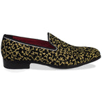 Fervor Gold Embroidered Slip Ons