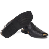 Black Knitted Pattern Peshawari Chappal