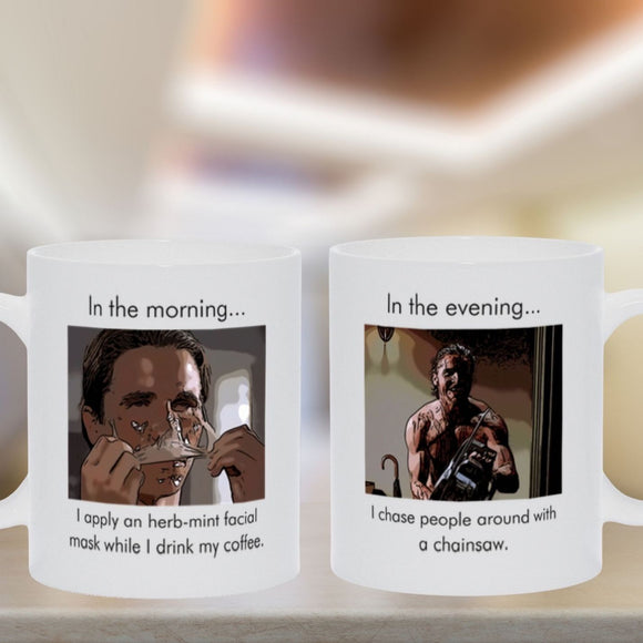 American Psycho - Facial Mask Chainsaw - Mug Mugs Tasteless Greetings