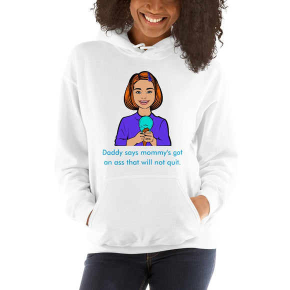 Ass That Will Not Quit Unisex Hoodie Tasteless Greetings White S