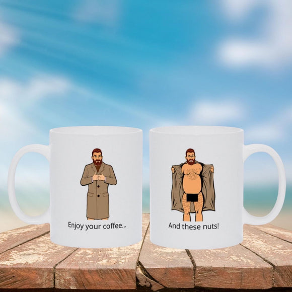 Double-Sided Flasher Mug - These Nuts! Mugs Tasteless Greetings