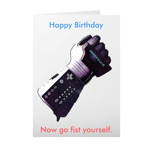 Happy Birthday Card - Power Glove Fist Yourself Cards Tasteless Greetings
