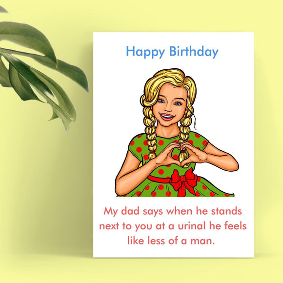Happy Birthday Card - Urinal Envy Cards Tasteless Greetings