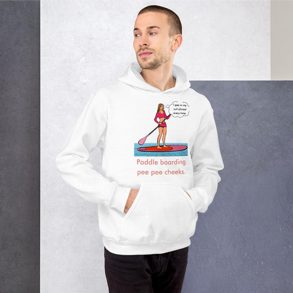 Paddle Boarding Pee Pee Cheeks Unisex Hoodie Tasteless Greetings White S