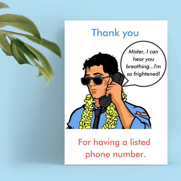 Thank You Card - Stalker Caller Cards Tasteless Greetings
