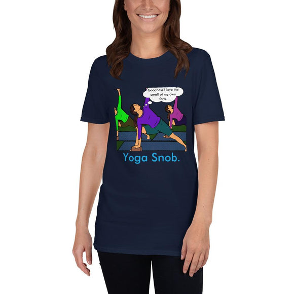 Yoga Snob Unisex T-Shirt Tasteless Greetings Navy S