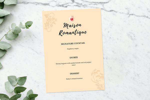 beige-colored menu on top of a marble counter top