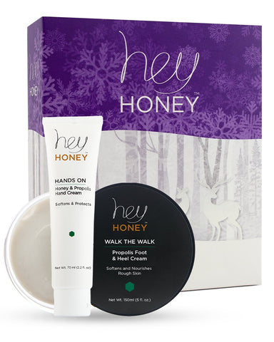 Hey Honey's Hands & Feet Set. Includes Hands On & Walk the Walk. The Hands & Feet Set is perfect for couples, athletes, and/or friends!