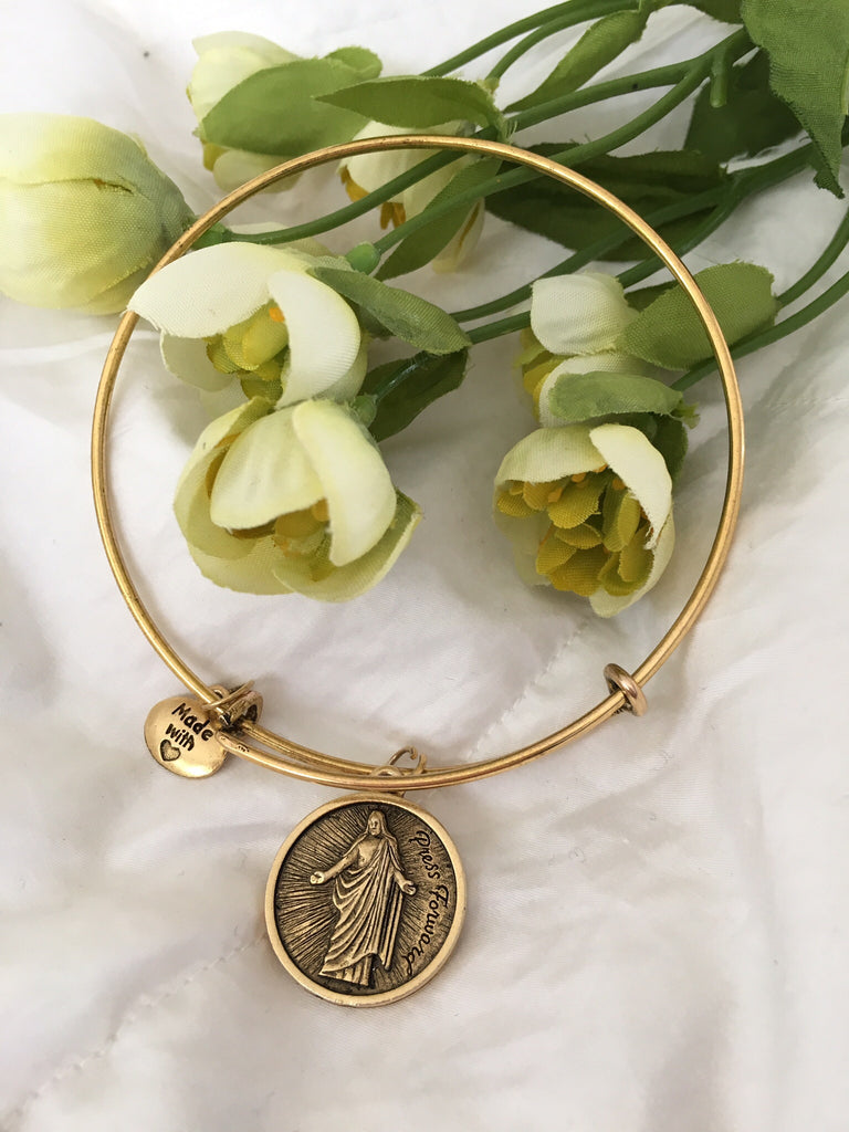 2016 YW Theme - Press Forward - Stackable Bracelet - Gold