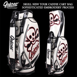 GUIOTE Skull & X-Bones Golf Caddie Cart Bag PU Leather Standard Golf Tour Staff Bag With Rain Hood 5-way For Men Women