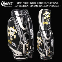 Load image into Gallery viewer, [2 Colors] KING SKULL & X-Bones Golf Caddie Cart Bag PU Leather Golf Tour Staff Bag With Rainhood 5-way For Men Women