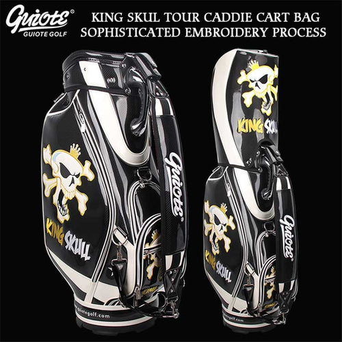 [2 Colors] KING SKULL & X-Bones Golf Caddie Cart Bag PU Leather Golf Tour Staff Bag With Rainhood 5-way For Men Women