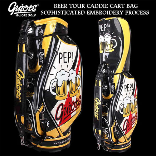 Cheers!! Beer Festive Golf Standard Bag PU Leather Golf Tour Staff Bag Embroidery Design 5-way For Men Women