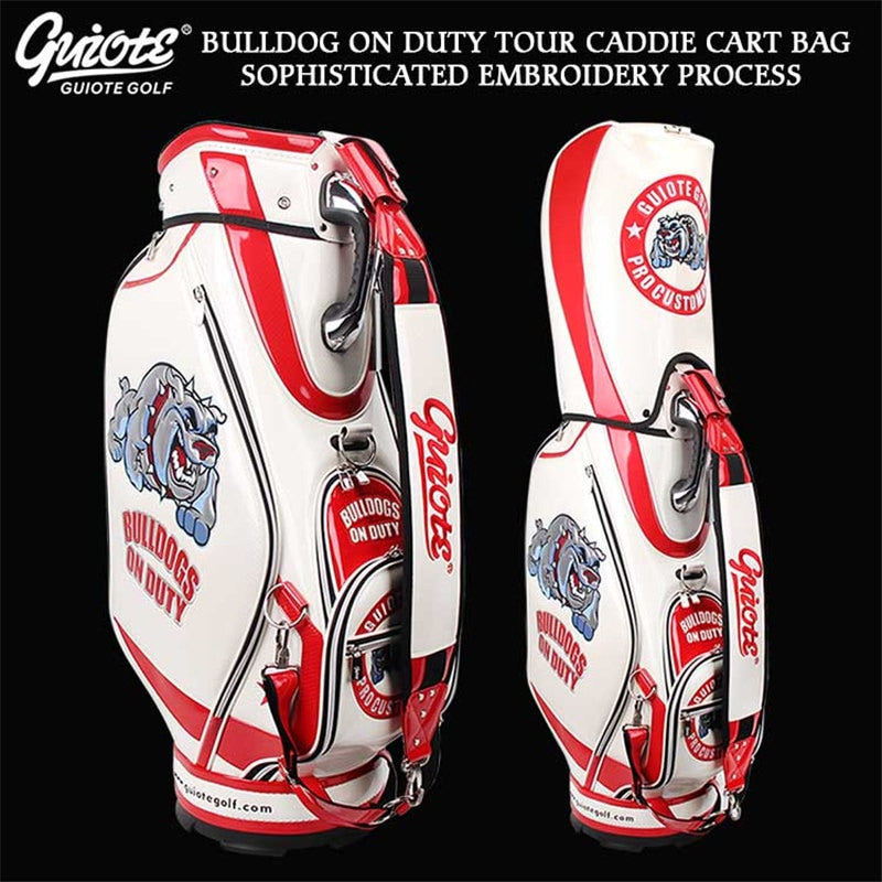Bulldog Golf Caddie Cart Bag UNISEX PU Leather Standard size Rain Hood 2 colors