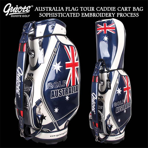 AU Australia Flag Golf Caddie Cart Bag PU Leather Standard Golf Tour Staff Bag With Rain Hood 5-way For Men Women