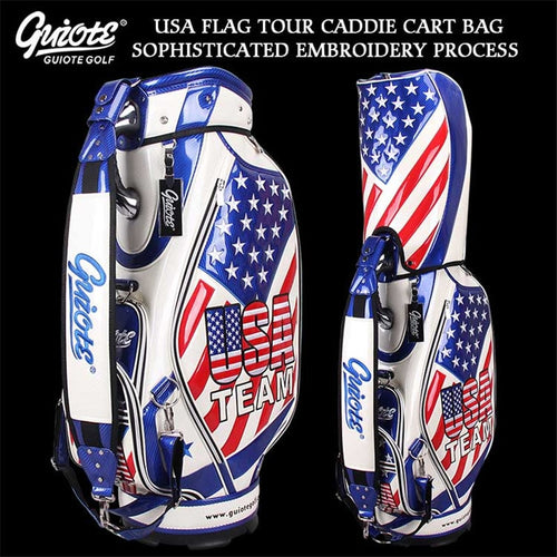 TEAM USA Golf Caddie Cart Bag PU Leather Standard Golf Tour Staff Bag With Rain Hood 5-way For Men Women
