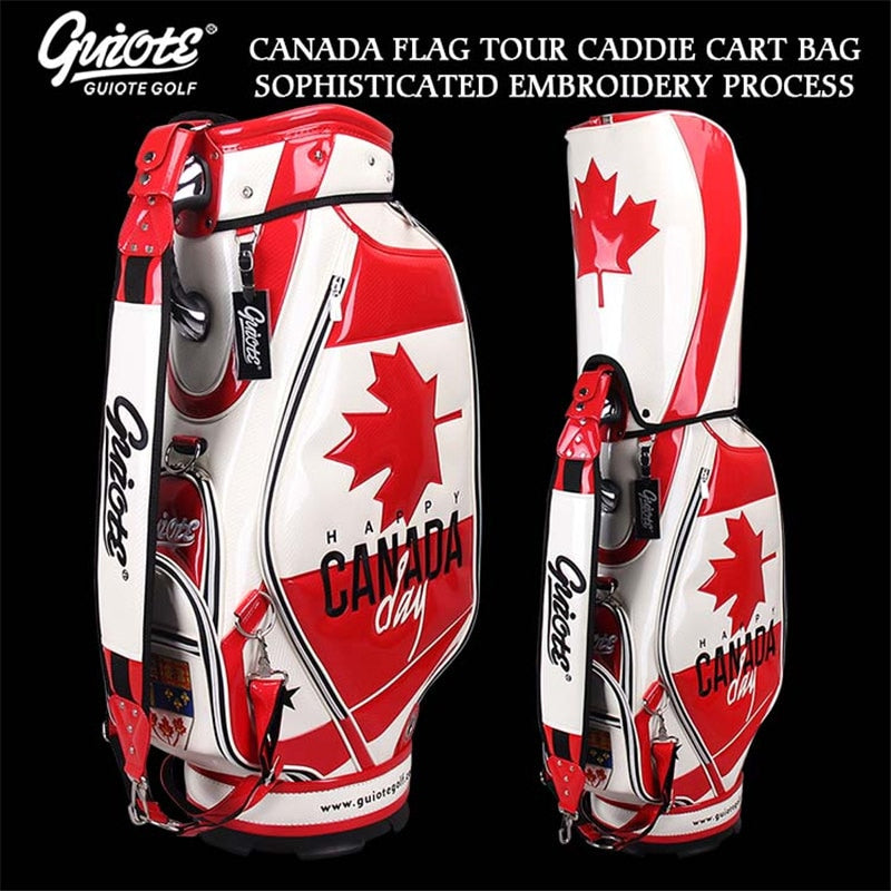 Maple Leaf Canadian Flag Golf Caddie Cart Bag PU Leather Golf Tour Staff Bag 5-way Come With Rainhood For Men Women