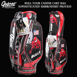 USA BULLS Golf Caddie Cart Bag PU Leather Standard Golf Tour Staff Bag With Rain Hood 5-way For Men Women