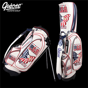 "Golf Bag UAS Eagle Leather PU Waterproof Carry Bag Rainhood Embroidery Design 8-way 9"" Size Unisex"