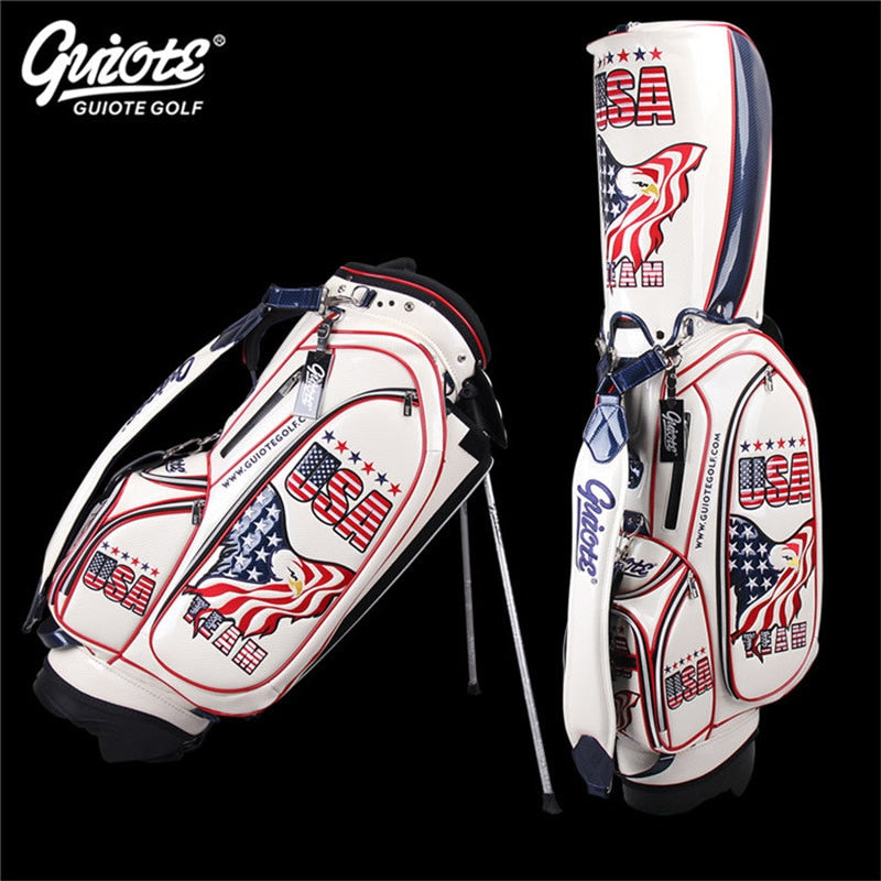 Golf Bag UAS Eagle Leather PU Waterproof Carry Bag Rainhood Embroidery Design 8-way 9
