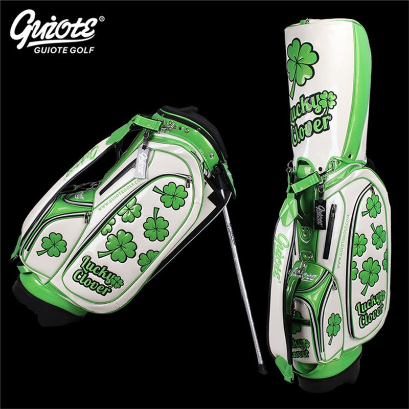 GUIOTE Lucky Clover Golf Stand Bag PU Leather Golf Carry Bag With Rainhood Embroidery Design 8-way 9