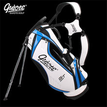 "Load image into Gallery viewer, [4 Colors] GUIOTE GT Global Tour Golf Stand Bag PU Leather Golf Carry Bag With Rainhood 8-way 9"" Size For Men Women"