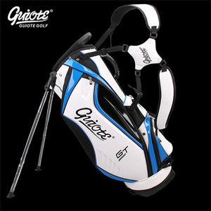 "[4 Colors] GUIOTE GT Global Tour Golf Stand Bag PU Leather Golf Carry Bag With Rainhood 8-way 9"" Size For Men Women"