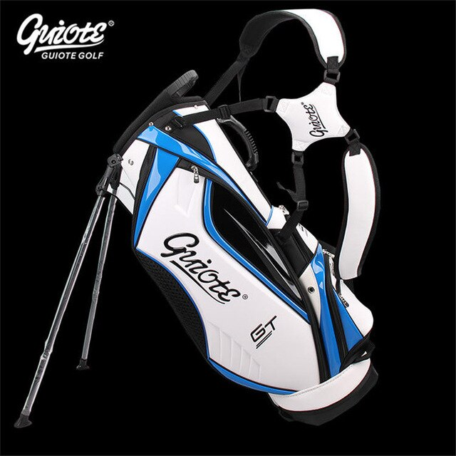 [4 Colors] GUIOTE GT Global Tour Golf Stand Bag PU Leather Golf Carry Bag With Rainhood 8-way 9