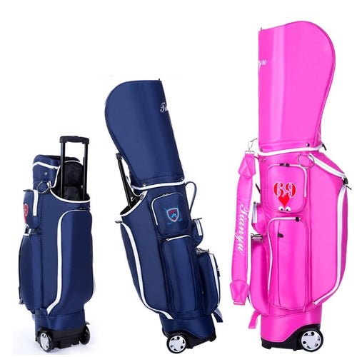 2019 Retractable Standard Ball Golf Bag With Wheel Big Capacity Travelling Aviation Bag With Cover Hard Nylon D0638