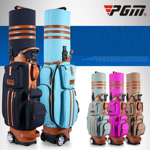 Retractable Golf Bag With Wheels Patent Designed 14 clubs Travelling Aviation Bag With Password Lock