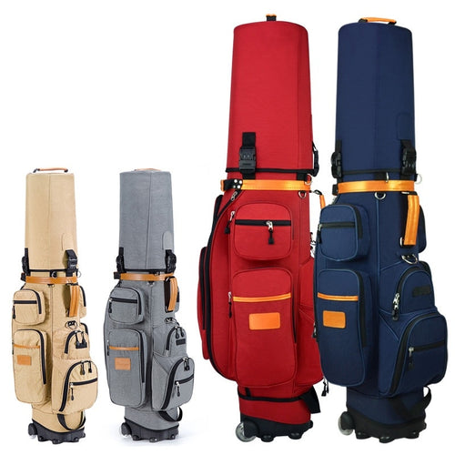 Ladies and Men's Golf Bag Nylon Wheels Air Travel Bag 4 colors. Multi Pockets