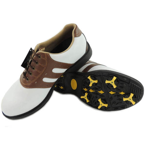 Men's golf shoes Leather upper slip resistant cotton lining white only Black or Brown trim NO:k14