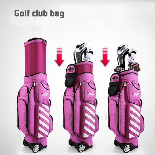GOLF BAG for WOMEN AIR TRAVEL with WHEELS LIGHTWEIGHT NYLON RED or PINK