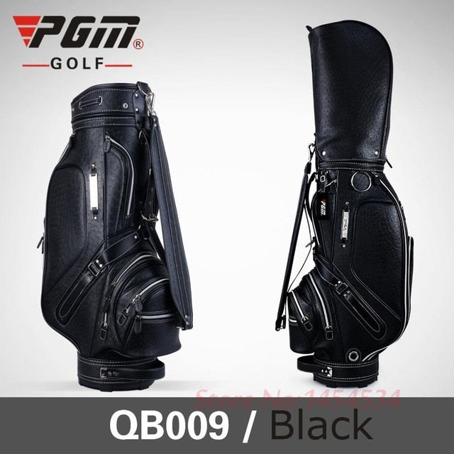 Women's Tall Golf Bag Leather with Pu Waterproofing Cart Bag 126CM 5 Slots 14 Clubs Black/Brown