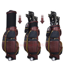 Load image into Gallery viewer, Mens Golf Bag Genuine Leather black or brown with Wheels Cover 6 sections Travel Bag
