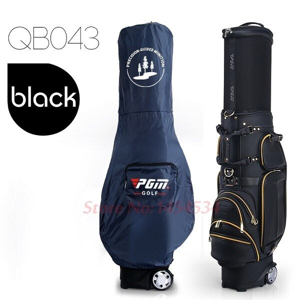 Mens Golf Bag Genuine Leather black or brown with Wheels Cover 6 sections Travel Bag