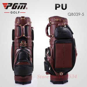 Genuine Leather Golf Bag Waterproof Large Capacity 5 Slots with Cover High-end QB039-2