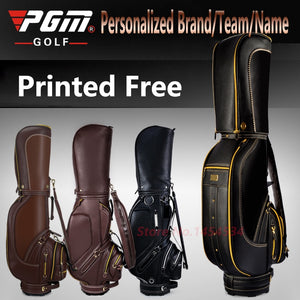 Printed Free! Full Genuine Leather Standard Bag With Cover Waterproof PU Men Golf Package High-end Personalized Brand/Team/Name