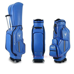 Airplane Travel Genuine Golf Bag Standard Package With Cover Men Pulley Professional Leather PU Waterproof Golf Cart Club Bag
