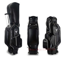 Load image into Gallery viewer, Airplane Travel Genuine Golf Bag Standard Package With Cover Men Pulley Professional Leather PU Waterproof Golf Cart Club Bag