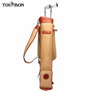 Tourbon Vintage Golf Club Bag Carrier Pencil Style Canvas & Leather w/ Pocket Fleece Padded Golf Clubs Interlayer Cover 89CM