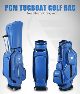 Pgm Golf Aviation Bag Portable Pu Leather Golf Standard Bag Golf Large Capacity Travel Package With Wheels D0085