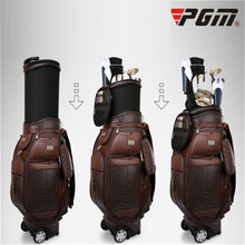 Load image into Gallery viewer, Pgm Men's Genuine Leather Waterproof Golf Standard Bag Retractable Travelling Aviation Bag Golf Carry Bag Holds 13 Clubs D0482