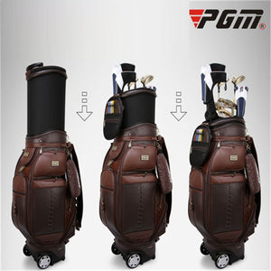 Pgm Men's Genuine Leather Waterproof Golf Standard Bag Retractable Travelling Aviation Bag Golf Carry Bag Holds 13 Clubs D0482