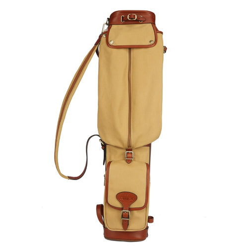Tourbon Vintage Golf Bag Clubs Carrier Travel Case Canvas & Leather Pencil Style Golf Gun Clubs Interlayer Cover 87CM
