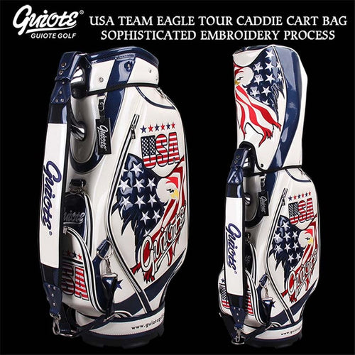 USA Bald Headed Eagle Golf Caddie Cart Bag PU Leather Standard Golf Tour Staff Bag With Rain Hood 5-way For Men Women