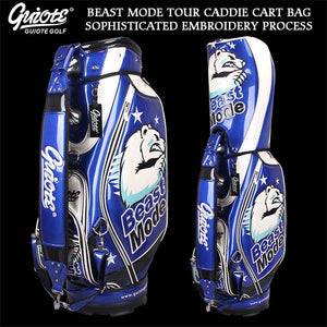 Beast Mode Golf Caddie Cart Bag PU Leather Standard Golf Tour Staff Bag With Rain Hood 5-way For Men Women