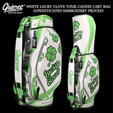 Load image into Gallery viewer, [2 Colors] Lucky Clover Golf Caddie Cart Bag PU Leather Golf Tour Staff Bag With Rain Hood 5-way For Men Women
