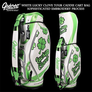 [2 Colors] Lucky Clover Golf Caddie Cart Bag PU Leather Golf Tour Staff Bag With Rain Hood 5-way For Men Women